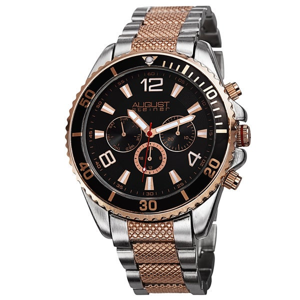 August Steiner Men's Swiss Quartz Multifunction Two-Tone Bracelet Watch. Opens flyout.
