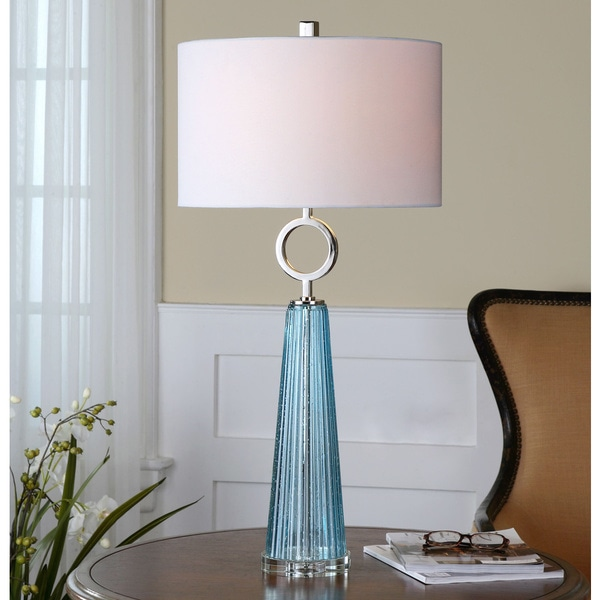 Uttermost navier seeded blue crystal glass table lamp