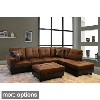 Delima 3-piece Microsuede Sectional Set