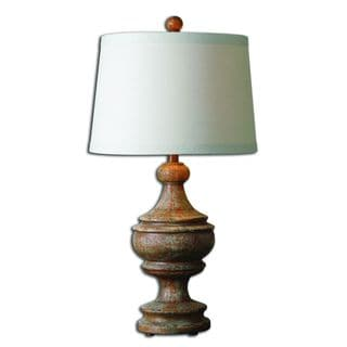 Uttermost Via Lata Hand-painted Distressed Burnt Orange Table Lamp