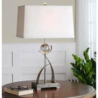 Uttermost Cortlandt Antiqued Silvertone Metal Table Lamp