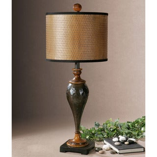 Uttermost Javini Metal Wood Woven Paper Pvc Floor Lamp