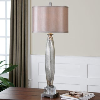 Uttermost Loredo Mottled Grey Glass Lamp