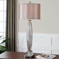 Uttermost Loredo Mottled Grey Glass Table Lamp