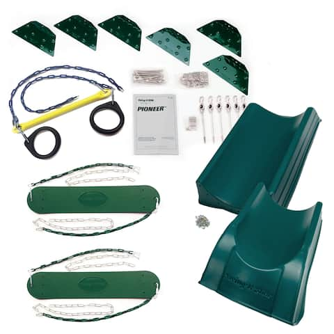 Swing-N-Slide Pioneer Deluxe DIY Play Set Hardware Kit with 2-Piece Summit Slide (Lumber not Included) - 192L x 168W x 96H