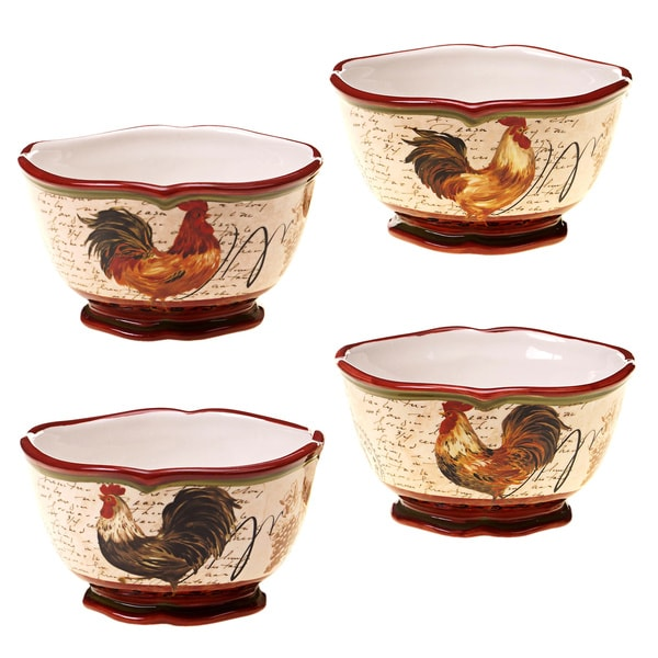 Certified International Assorted Tuscan Rooster Ice Cream Bowls (Set of 4)