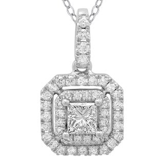 Azaro 14k White Gold 1/2ct TDW Princess-cut Diamond Double Halo Pendant Necklace