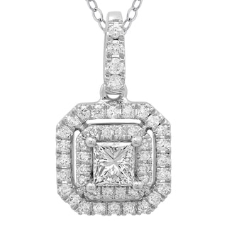 Azaro 14k White Gold 1/2ct TDW Princess-cut Diamond Double Halo Pendant Necklace (G-H, SI2-I1)
