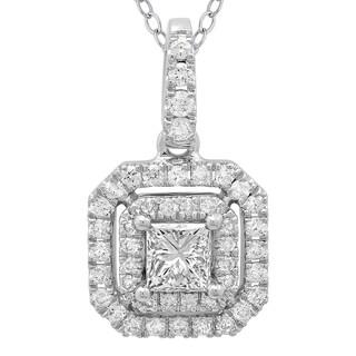 Azaro 14k White Gold 1/2ct TDW Princess-cut Diamond Double Halo Pendant Necklace