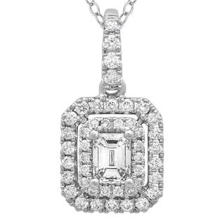 Azaro 14k White Gold Diamond 1/2ct TDW Emerald-cut Diamond Double Halo Pendant (G-H, SI2-I1)