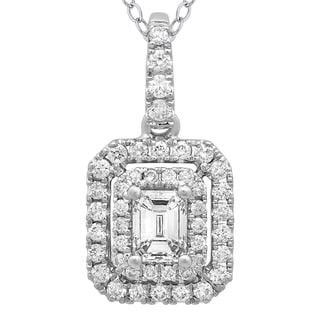 Azaro 14k White Gold Diamond 1/2ct TDW Emerald-cut Diamond Double Halo Pendant