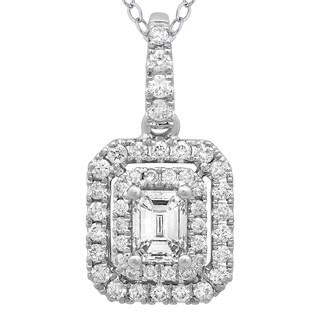 Azaro 14k White Gold Diamond 1/2ct TDW Emerald-cut Diamond Double Halo Pendant