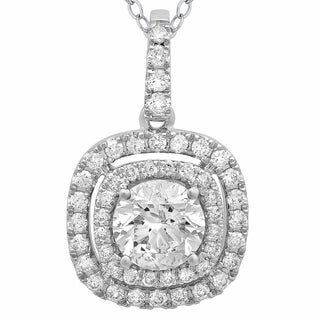 Azaro 14k White Gold 1ct TDW Diamond Double Halo Pendant Necklace (G-H, SI2-I1)