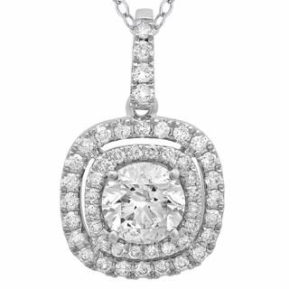 Azaro 14k White Gold 1ct TDW Diamond Double Halo Pendant Necklace