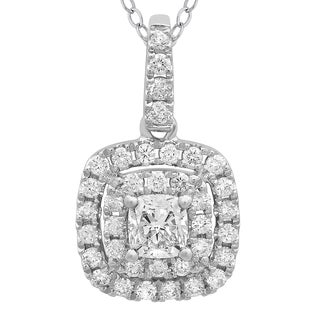 Azaro 14k White Gold 3/5ct TDW Cushion-cut Diamond Double Halo Pendant (G-H, SI2-I1)