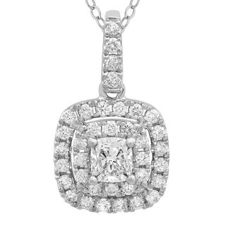 Azaro 14k White Gold 3/5ct TDW Cushion-cut Diamond Double Halo Pendant (G-H, SI2-I1)