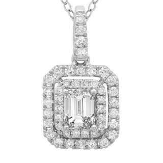 Azaro 14k White Gold 3/4ct TDW Emerald-cut Diamond Double Halo Pendant Necklace