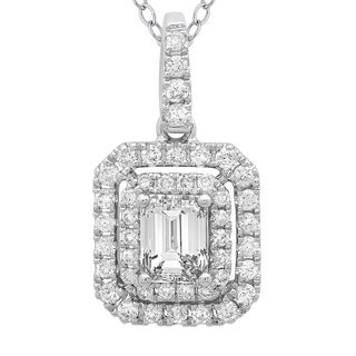 Azaro 14k White Gold 3/4ct TDW Emerald-cut Diamond Double Halo Pendant Necklace (G-H, SI2-I1)