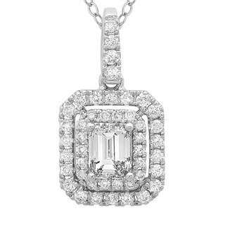 Azaro 14k White Gold 3/4ct TDW Emerald-cut Diamond Double Halo Pendant Necklace