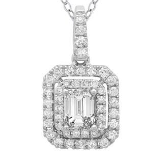 Azaro 14k White Gold 4/5ct TDW Cushion-cut Diamond Double Halo Pendant
