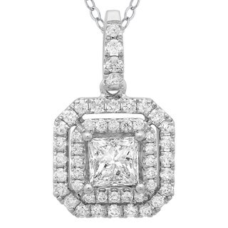 Azaro 14k White Gold 4/5ct TDW Princess-cut Diamond Double Halo Pendant Necklace