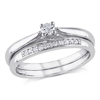 Miadora Sterling Silver 1/6ct TDW Diamond Bridal Ring Set (4 options available)