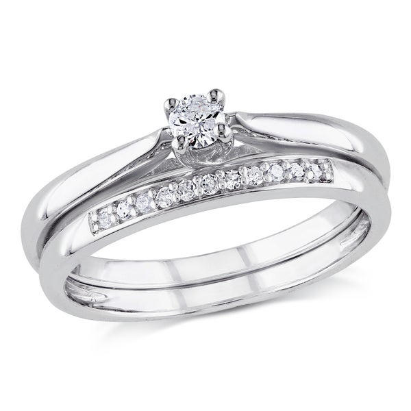 miadora sterling silver 16ct tdw diamond bridal ring set - Sterling Silver Diamond Wedding Ring Sets