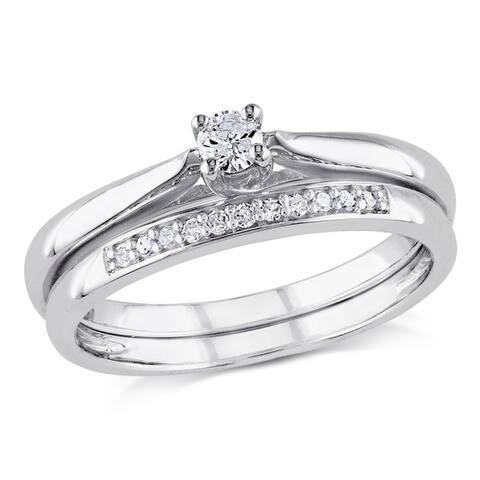 Miadora Sterling Silver 1/6ct TDW Diamond Bridal Ring Set