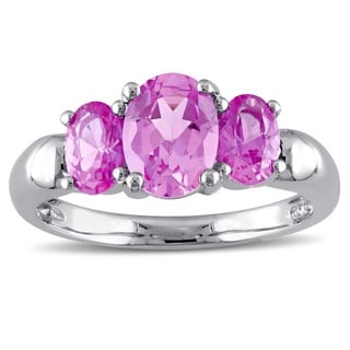 Miadora Sterling Silver Created Pink Sapphire Three-stone Ring