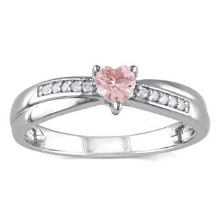 Miadora Sterling Silver Morganite and Diamond Heart Ring