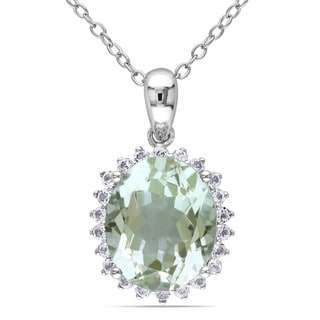 Miadora Sterling Silver 4 1/5ct TGW Green Amethyst and White Topaz Necklace