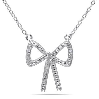 Miadora Sterling Silver Diamond Accent Bow Necklace