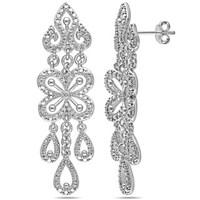 Miadora Sterling Silver Diamond Chandelier Dangle Earrings