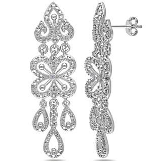 Miadora Sterling Silver Diamond Chandelier Dangle Earrings