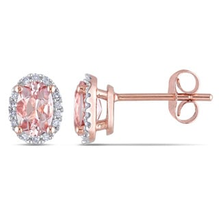 10k Rose Gold Oval-Cut Morganite and 1/10ct TDW Diamond Halo Earrings by Miadora
