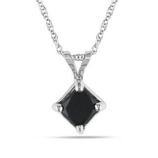 Miadora 10k White Gold 1ct TDW Black Diamond Solitaire Necklace