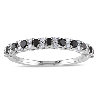 Miadora Sterling Silver 1/2ct TDW Black and White Diamond Ring