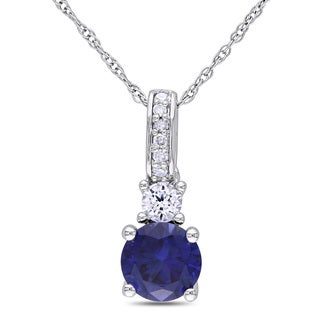 Miadora 10k White Gold Created Blue and White Sapphire and Diamond Necklace