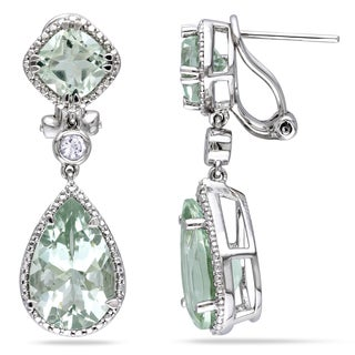 Miadora Sterling Silver Green Amethyst and Created White Sapphire Earrings
