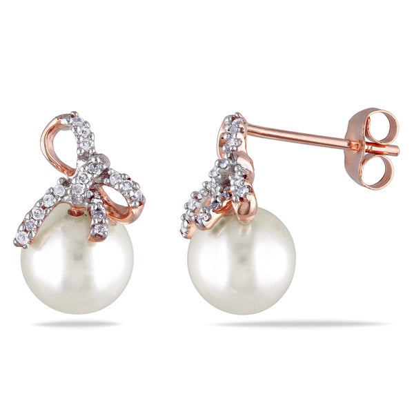 Miadora 10k Rose Gold Cultured Freshwater Pearl and 1/10ct TDW Diamond Bow Earrings (H-I, I2-I3)