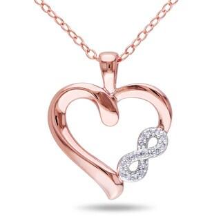 Miadora Rose Plated Silver Diamond Infinity Heart Necklace