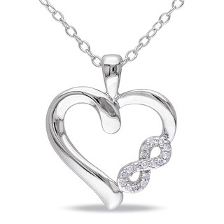 Miadora Sterling Silver Diamond Infinity Heart Necklace