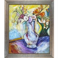 Alfred Henry Maurer 'Flowers in a White Vase' Hand Painted Framed Canvas Art