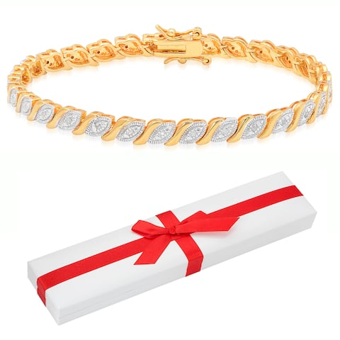 Finesque Sterling Silver 1/10ct TDW Diamond Marquise Bracelet with Red Bow Gift Box