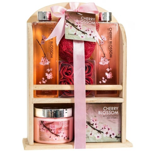 Pink Natural Wood Caddy Cherry Blossom Spa Gift Set