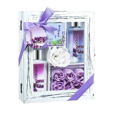 Freida and Joe Purple Natural Wood Curio Lavender Spa 5-piece Gift Set