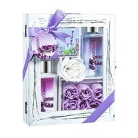 Purple Natural Wood Curio Lavender Spa Bath Gift Set