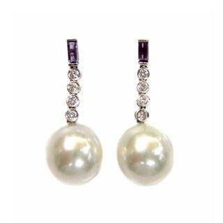 Kabella Luxe Vintage 18k Gold Diamond Amethyst South Sea Pearl Estate Dangle Earring (12-13 mm)