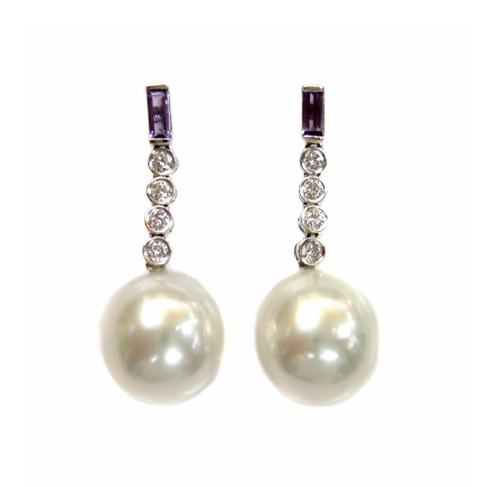 c8ae97bdb Shop Kabella Luxe Vintage 18k Gold Diamond Amethyst South Sea Pearl Estate  Dangle Earring (12-13 mm) - Free Shipping Today - Overstock - 9095062