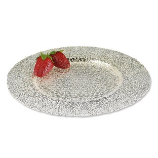 Snakeskin 13-inch Silver Glass Charger (Set of 4)